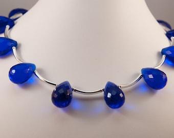 Cobalt Blue Quartz Briolette Necklace