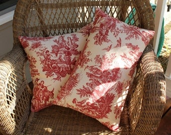 Decorative Pillow Cover - Red Toile - Country Life Pillow Cover