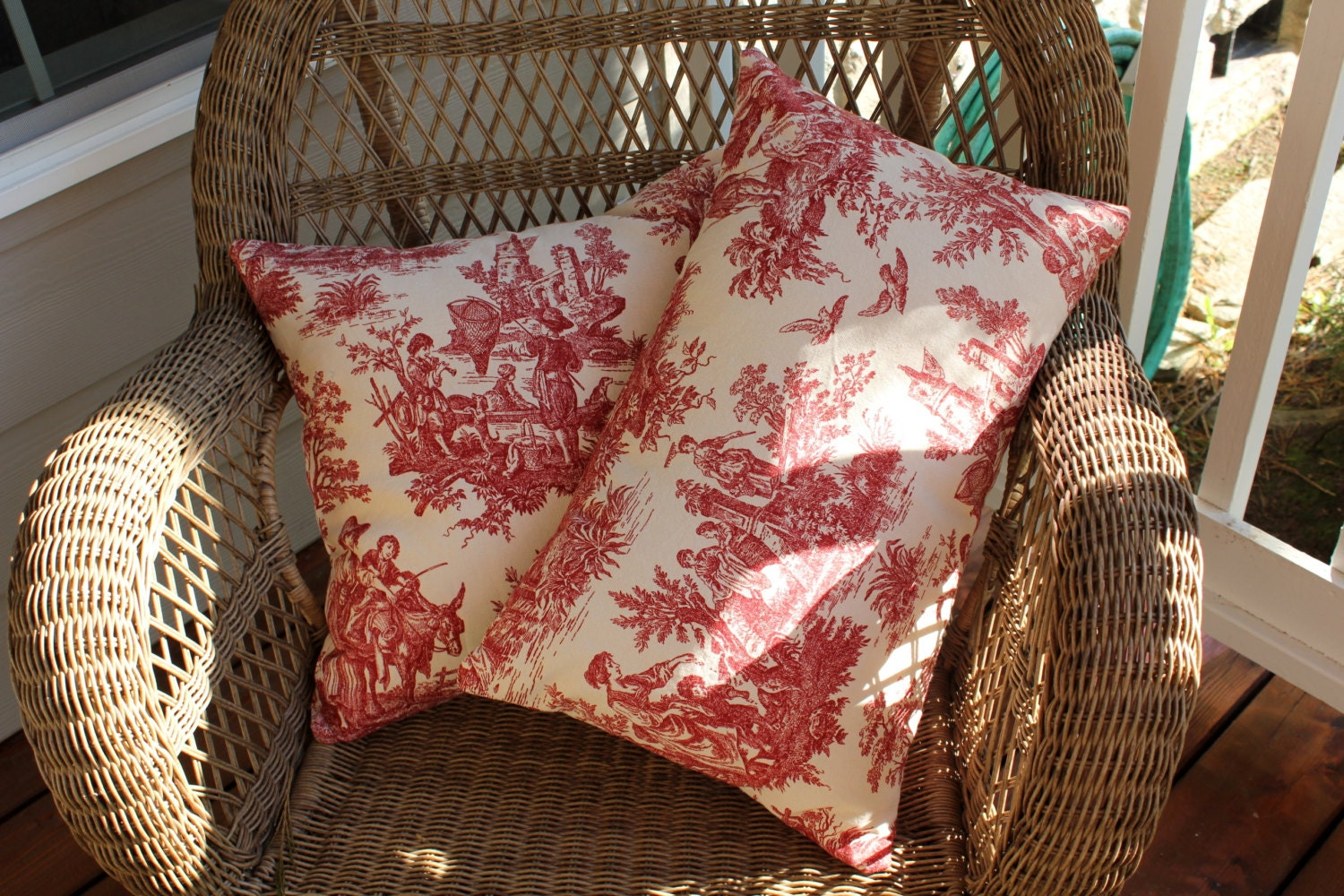 Decorative Pillow Cover Red Toile Country Life Pillow