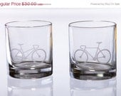 ON SALE Bicycle Love Etched Whiskey Rocks Glasses - Set of 2