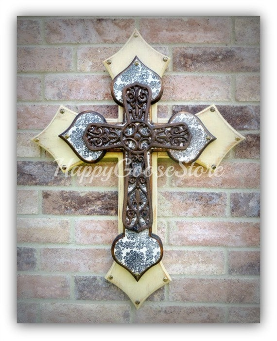 Large Wall CROSS - Antiqued Beige and Aged Damask with Large Iron Cross