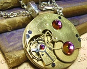Steampunk Vintage Elgin Pocket Watch Movement Art Pendant Necklace - Coco Scapin Designs Chicago