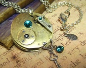 Steampunk Vintage Swiss Pocket Watch Movement Art Pendant Necklace - Coco Scapin Designs Chicago