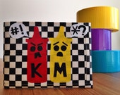 Ketchup vs. Mustard Duct Tape Wallet - Checkerboard Bifold