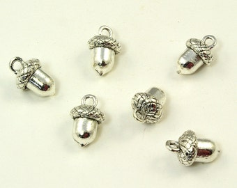 Silver Ox Pewter 3D Acorn Charms - 6