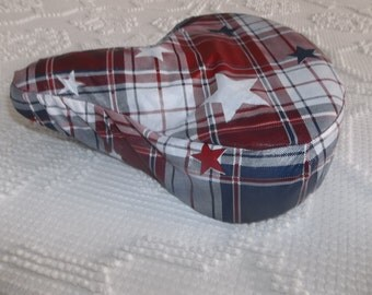 Red, White and Blue Stars  Beach Crusier Saddle  Bike or Bicycle  Rain or Weather Seat Cover Washable and  Adjustable