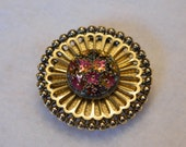 Vintage Western Germany Scarf Clip AB Glass Center Gold Tone