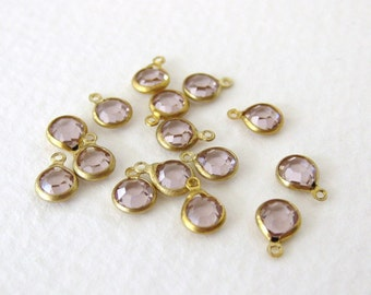 Glass Vintage Bead Drop Light Amethyst Channel Charm Faceted Brass 4mm vgb0645 (15)
