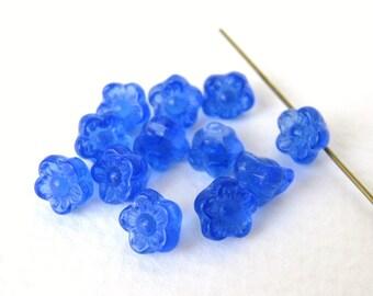 Vintage Beads Czech Glass Sapphire Blue Flower Button 7mm vgb0671 (15)