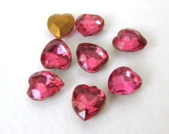 Vintage Glass Rhinestone Jewel Rose Pink Heart 7mm swa0388 (8)