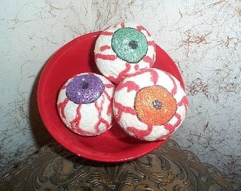 3  primitive Halloween glittered Bloodshot EYEBALLS with red bowl Handpainted~