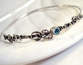 Sterling Silver Bangle Bracelet with Genuine Gemstone