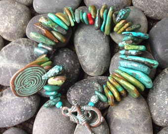 Turquoise and Greek Mykonos Bracelet