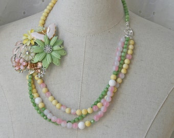 Pastel Beaded Multi Strand Flower Brooch Collage Necklace
