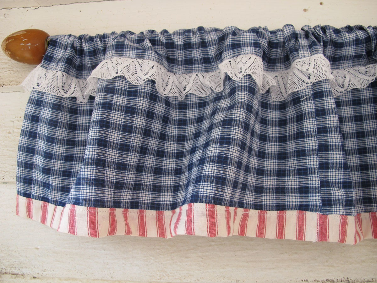 Blue Plaid Curtain Wide Lace Trim Valance Red White Blue