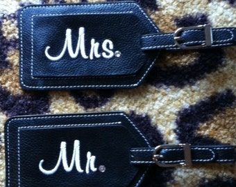 Two Personalized Leather Luggage Tags Mr and Mrs with a little Bling