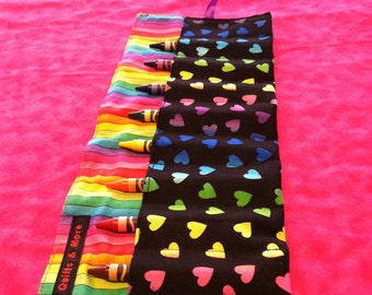 Rainbow Hearts and Stripes Print Crayon Roll w/ Purple Ribbon and 8ct Crayola Crayons