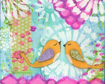Orange Birds, Whimsical Bird Painting for Girl, Baby Girl Room Decor, 8x8 Canvas, Friends, Whimsical Art