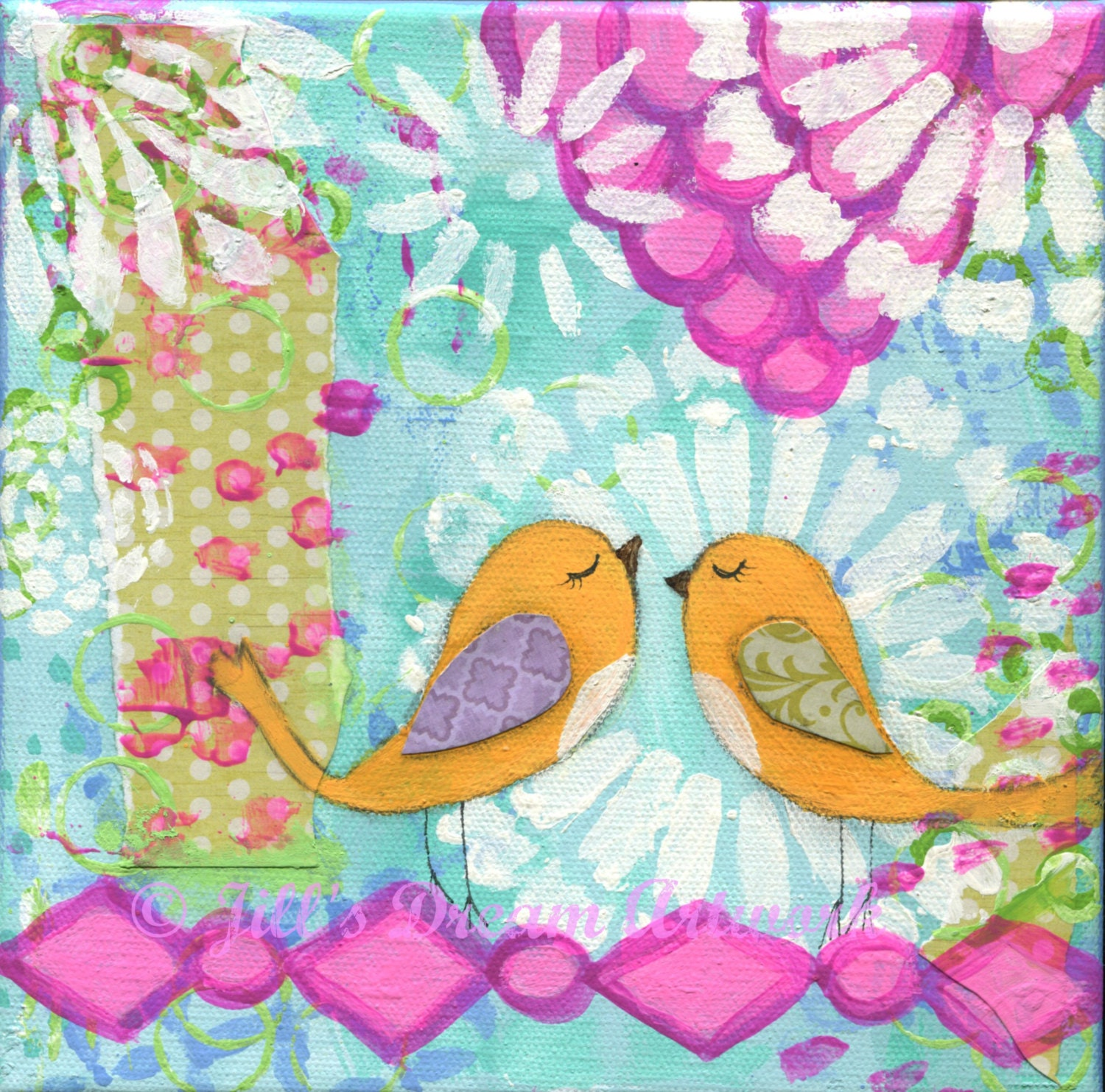 Orange birds whimsical bird painting for girl baby girl room for Art sites like etsy