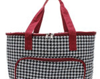 Insulated Cooler Maroon Houndstooth with Personalized Embroidery
