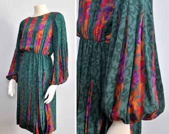 70s dress /  silk floral dress / bishop sleeve dress / Albert Nipon dress / 1970s dress