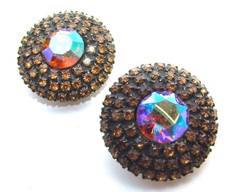 WEISS Topaz Copper Aurora Borealis Rhinestone Earrings Signed Designer Jewelry, Free US Shipping