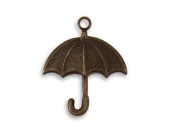 4 pieces small brass umbrella charm 19x16.5mm Rainy Day Umbrella, Vintaj Natural Brass Item DP158