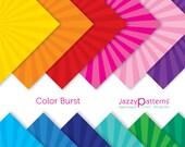 Starburst digital papers in rainbow colors comic book superhero style Color Burst DP102 instant download