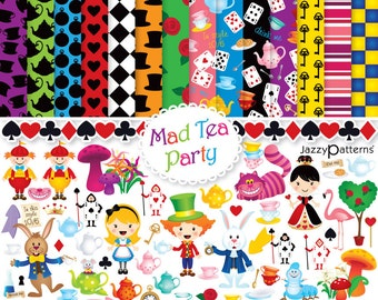 Alice In Wonderland clipart and digital paper pack Mad Tea Party DK003 instant download