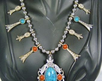 Vintage Art Faux Coral and Turquoise Necklace