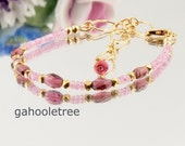 September Birthday or January Birthstone Gift Idea: Rhodolite Garnet & Pink Sapphire Bracelet