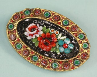 Floral Mosaic Tile Brooch Italy Oval Shape Vintage