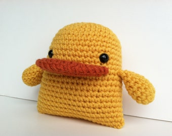 Amigurumi Crochet Yellow Duck Plush Toy Kawaii Duck Nursery Decor Gift Under 25 Stuffed Animal Duck Baby Shower Gift Plushie Duckie