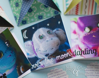 Sock Monkey Mini Note Card Trio, Handmade Gift Tags, Lunch Box Notes, Love Notes, Thank You, Hostess Gift, Just Because, Happy Tiny Notes