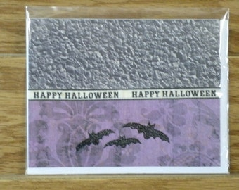 CLEARANCE SET//Halloween, Happy Halloween. set of 3 bat cards #3190