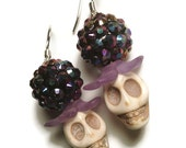TOOTH DECAY Howlite Skull and Vintage Lucite Sparkle Beaded Earrings