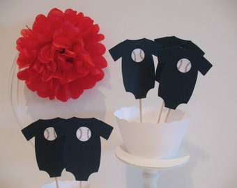 Baseball Cupcake Toppers  or Food Picks - Baseball Theme Baby Shower First Birthday