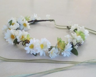 Hair accessory Bridal Hippie Head Wreath Daisy flower Crown Woodland green wedding -Terri- country chic hairpiece accessories circlet EDC
