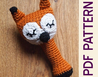 Amigurumi Crochet Sleepy Sly Fox Woodland Baby Rattle Pdf Pattern
