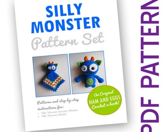 Amigurumi Crochet Silly Monster PDF Pattern Set Security Blanket Baby Toy e-book Deal Bargain