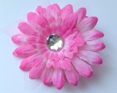 Darling Pink Daisy Hair Flower with Jewel Center and Layers of Tulle 3 inch