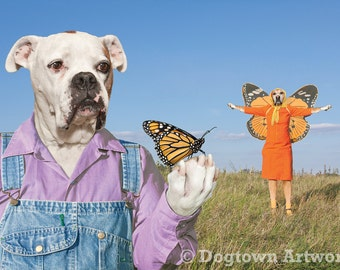 Flying Lesson, large original photograph of boxer dogs wearing clothes giving flying lessons to a monarch butterfly