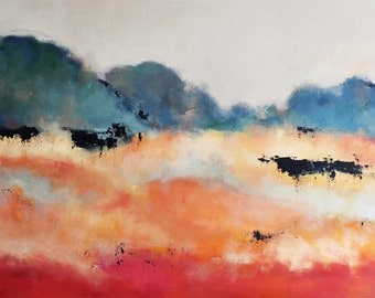 Red Autumn Original Abstract Painting Landscape LARGE 24x35 inch UNSTRETCHED Rolled in a tube