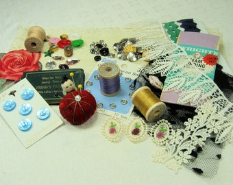 vintage collage kit-sewing-mixed media supplies-inspirational collage kit-thread