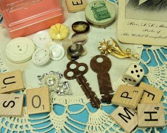 Vintage Collage Inspirational Kit- Scrapbooking- Assemblage, Altered Art- Destash- Repurpose