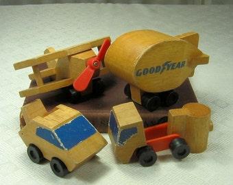Vintage Wood Toys by Mattel- Airplane, Goodyear Blimp, Tanker, Car