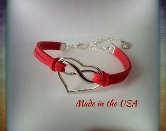 Infinite Love Bracelet, Infinity Bracelet, Heart Bracelet, Charm Bracelet, Friendship Bracelet