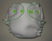 Bamboo/Zorb fitted diaper with lime green snaps and edging