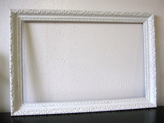 Vintage White Ornate Frame Large Shabby Chic By TheCottageWay