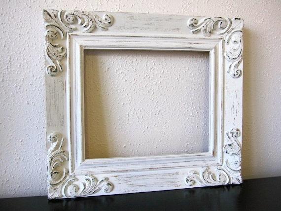 vintage white ornate frame shabby chic white solid wood frame. Black Bedroom Furniture Sets. Home Design Ideas